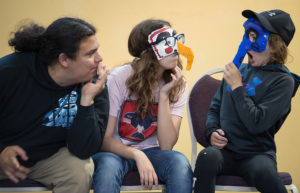 Frank Katasse plays an improvisational game of Three Headed Expert with Callista Martin, 12, center, and Elizabeth Rogers, 12, at the Voices on the Land workshop at the Juneau Arts and Culture Center on Friday, July 21, 2017. The performing arts intensive workshop was sponsored by Sealaska Heritage Institute.